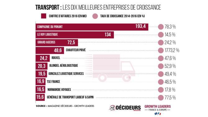 Porté par Spie Autocite 2 et Chauffeur Privé, le secteur du transport affiche le plus fort taux de croissance (1 773,3 %) de notre classement. En revanche les entreprises du secteur sont plus petites : elles ne représentent que 3,1 % du chiffre d'affaires alors qu'elles comptent pour 7,4 % des sociétés classées.