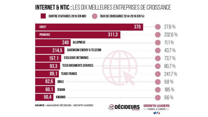 Avec quarante-deux sociétés présentes dans le classement, le secteur de l'Internet et des NTIC représente 8 % du chiffre d'affaires total. Son taux de croissance de 366,6 % est nettement supérieur à la moyenne de 276,1 %.