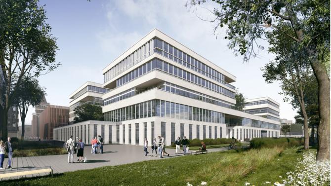 Vinci Immobilier et le Crédit Mutuel Nord Europe ont posé la première pierre de Wenov,  nouveau hub européen de la culture numérique, à Lille.