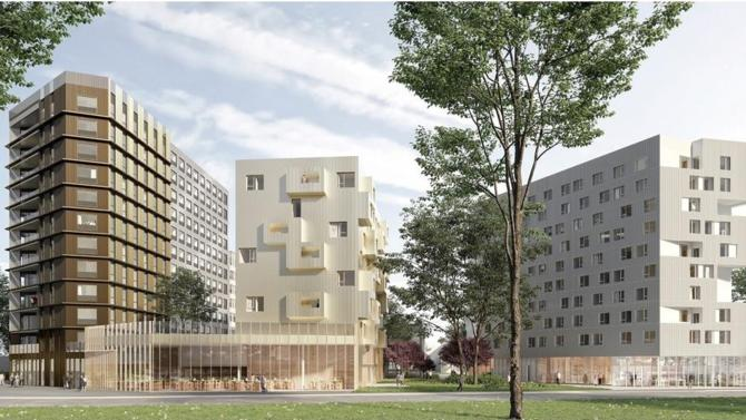 Vinci Construction France lance les travaux de l'ensemble immobilier mixte Treed It, au cœur du Cluster de la ville durable « Descartes » aménagé par EpaMarne à Champs-sur-Marne
