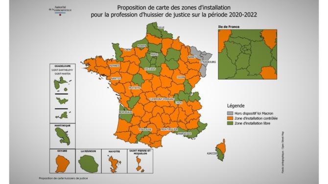 L'Autorité de la concurrence publie une carte indiquant les zones d'installation possibles pour de nouveaux huissiers de justice et commissaires-priseurs judiciaires.