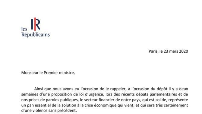 """Dans une lettre adressée au Premier ministre le 23 mars, LR  assure l'exécutif de sa """"détermination"""" à soutenir """"l'effort de la Nation"""". Le parti en profite pour proposer des solutions contre la """"pandémie économique"""". Voici l'intégralité du texte."""