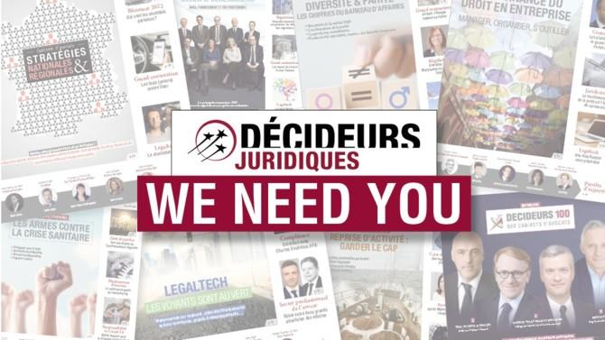 Votre magazine Décideurs Juridiques évolue et va bientôt adopter une nouvelle formule. Chaque jour, vous recevrez de nos nouvelles si vous nous donnez des vôtres!