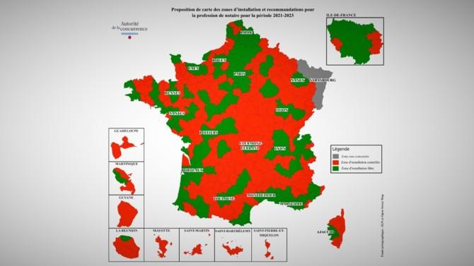 Mandatée depuis la loi Macron du 6 août 2015 pour établir les zones d'implantation des nouveaux notaires, des huissiers de justice et des commissaires-priseurs tous les deux ans environ, l'Autorité de la concurrence vient de publier sa carte pour 2021-2023. Cette fois, c'est une approche prudente qui est de mise.