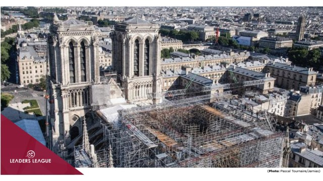 """Notre-Dame Cathedral: Top official tells Leaders League restoration """"remains on schedule"""" to finish by 2024"""